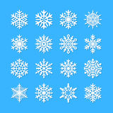 Cute snowflake collection isolated on blue background. Flat snow icons, snow flakes silhouette. Nice snowflakes for christmas bann Stock Photos