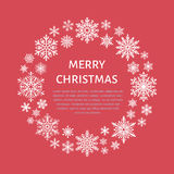 Cute snowflake poster, banner. Season greetings. Flat snow icons, snowfall. Nice snowflakes for christmas banner, cards. New year Royalty Free Stock Photography