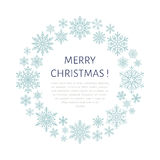 Cute snowflake poster, banner. Season greetings. Flat snow icons, snowfall. Nice snowflakes for christmas banner, cards. New year Royalty Free Stock Image