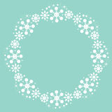 Cute snowflakes Christmas winter round frame background Stock Photo