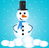 Cute Snowman. With a blue background Stock Illustration