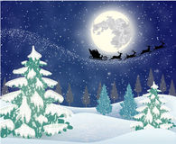 Cute snowman on the background of night sky Stock Photo