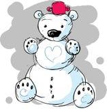 Cute snowman bear - vector illustration Royalty Free Stock Photos