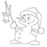 Cute snowman with bell character. Christmas snowman coloring book. Vector isolated Stock Photography