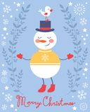 Cute snowman and bird Christmas card Royalty Free Stock Photography