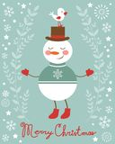 Cute snowman and bird illustration Stock Photo