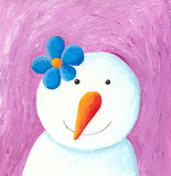 Cute snowman with blue flower Royalty Free Stock Images