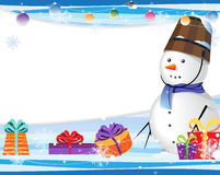 Cute snowman in a blue scarf Royalty Free Stock Photo