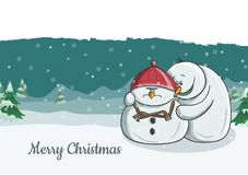 Cute snowman character illustration trying to cheer his grumpy friend. Snowfall and winter landscape in background, vector illustration for Christmas and Stock Photo