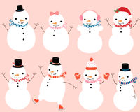 Cute snowman characters Stock Images