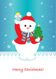 Cute snowman christmas card. With tree Stock Images