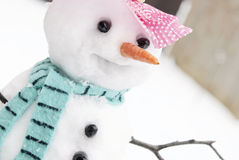 Cute Snowman Closeup Stock Photo