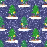 Hand drawn cute snowman on a cloud with gifts peeking out from behind a Christmas tree. Seamless vector pattern on blue. Cute snowman on a cloud with gifts royalty free illustration
