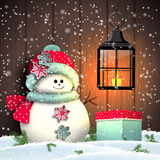 Cute snowman with colorful present and vintage Stock Image