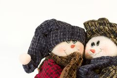 Cute Snowman Couple hugging royalty free stock photo