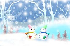 Cute snowman facing each other on winter landscape - Graphic texture of painting techniques, watercolor Royalty Free Stock Photo