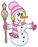 Cute snowman girl Stock Photos