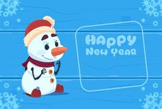 Cute Snowman On Happy New Year Greeting Card Christmas Holiday Concept. Flat Vector Illustration Royalty Free Stock Photos