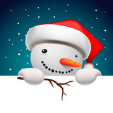 Cute snowman holding white page, Christmas card Stock Photography