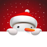 Cute snowman holding white page, Christmas card Royalty Free Stock Image