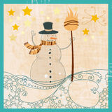 Cute snowman illustration Stock Photography