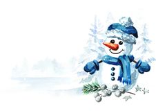 Free Cute Snowman In A Blue Cap In Winter Landscape. New Year And Christmas Greeting Card With Copy Space. Watercolor Hand Drawn Illust Royalty Free Stock Photos - 160753408