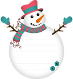 Cute snowman label sticker. Scalable vectorial image representing a cute snowman label sticker, isolated on white Stock Images