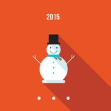 Cute snowman Merry Christmas and Happy New Year greeting card Royalty Free Stock Photos
