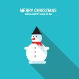 Cute snowman Merry Christmas and Happy New Year greeting card Stock Image