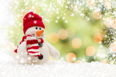 Cute Snowman Over Abstract Snow and Light Background Royalty Free Stock Images