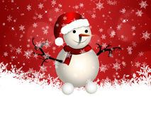 Cute snowman on red background Royalty Free Stock Photos