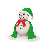 Cute snowman in santa claus style. Cute snowman wearing with cloth and fur like santa style, clipping path included Stock Image