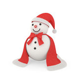 Cute snowman in santa claus style. Cute snowman wearing with cloth and fur like santa style, clipping path included Royalty Free Stock Photos