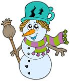 Cute snowman with scarf and broom Royalty Free Stock Photography