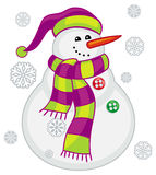 Cute snowman with scarf, hat and snowflakes. royalty free illustration
