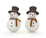 Cute snowman with scarf and magical hat. Cute snowman wearing magical hat and christmas scarf with clipping path Stock Image