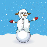 Cute snowman in sheep costume Royalty Free Stock Images