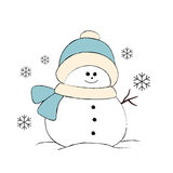 Cute snowman, simple illustration on white Stock Photography