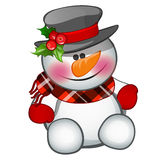 Cute snowman sits, isolated character Stock Images