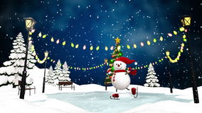 Cute snowman skating in the park. Loop animation stock footage