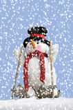 Cute snowman on skis Royalty Free Stock Photos