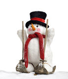 Cute snowman on skis Royalty Free Stock Photo
