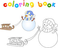 Cute snowman with sled. Educational coloring book Stock Photo