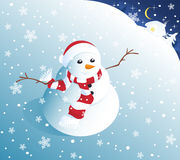 Cute snowman in snowfall Stock Image