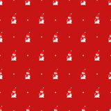 Cute snowman and snowflake seamless pattern on red background. Vector festive illustration for new year and Christmas. Cartoon style. Design for fabric Royalty Free Stock Photo
