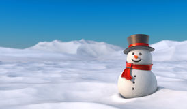 Cute snowman in snowy mountain landscape. Royalty Free Stock Photos