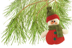 Cute snowman under a pine tree isolated on white Stock Image