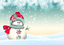 Cute snowman with in winter landscape Royalty Free Stock Images
