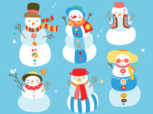 Cute Snowmen. Group of cute snowmen with fun colors and details Royalty Free Stock Photography