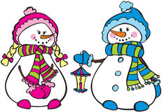 Cute snowmen. Girl and boy stock illustration